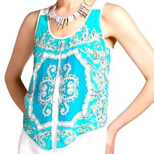 LEIFNOTES CREAM AND TEAL SHEER TANK XS